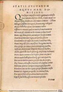 Sylwy 1,1 (Statii Papinii Neapolitani Opera, Basilea 1531)