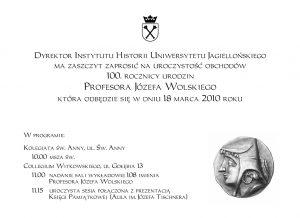 Obchody 100. rocznicy urodzin prof. Józefa Wolskiego: zaproszenie