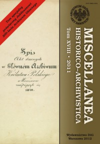 Miscellanea Historico-Archivistica, tom XVIII