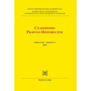 Czasopismo Prawno-Historyczne, tom LXXII, zeszyt 1