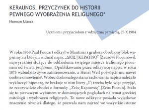 Hermann Usener, Keraunos. Przyczynek do historii pewnego wyobrażenia religijnego